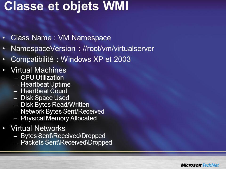 Classe et objets WMI Class Name : VM Namespace NamespaceVersion : //root/vm/virtualserver Compatibilité : Windows XP et 2003 Virtual Machines –CPU Uti