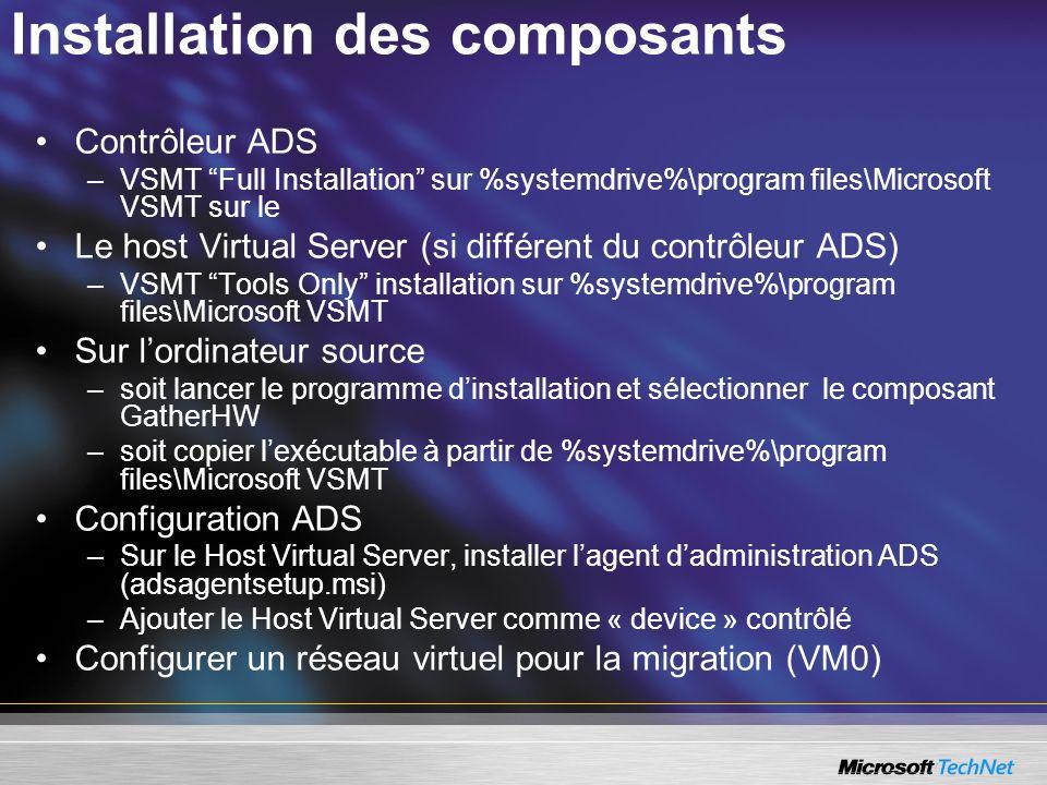 Installation des composants Contrôleur ADS –VSMT Full Installation sur %systemdrive%\program files\Microsoft VSMT sur le Le host Virtual Server (si di