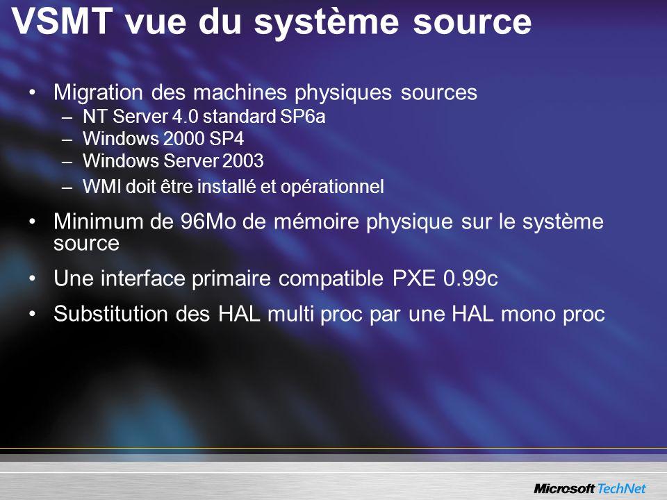 VSMT vue du système source Migration des machines physiques sources –NT Server 4.0 standard SP6a –Windows 2000 SP4 –Windows Server 2003 –WMI doit être