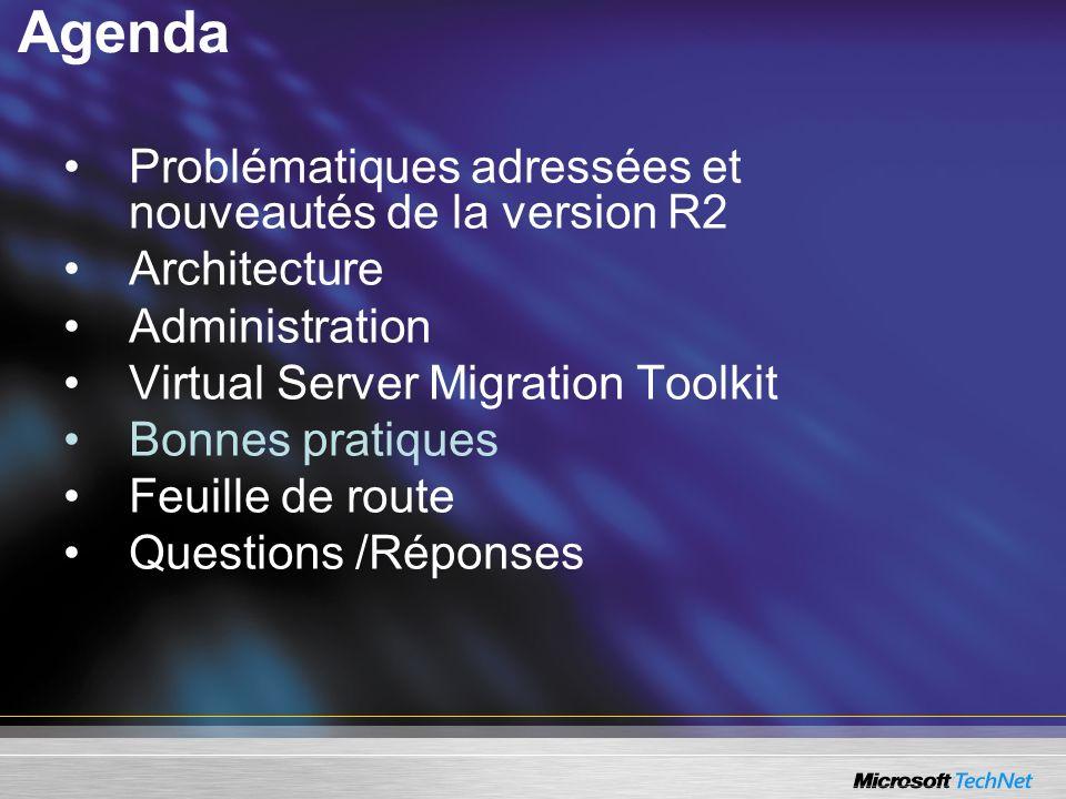 Agenda Problématiques adressées et nouveautés de la version R2 Architecture Administration Virtual Server Migration Toolkit Bonnes pratiques Feuille d