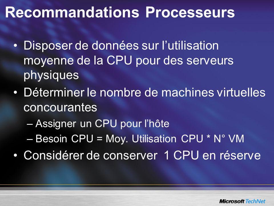Recommandations Processeurs Disposer de données sur lutilisation moyenne de la CPU pour des serveurs physiques Déterminer le nombre de machines virtuelles concourantes –Assigner un CPU pour lhôte –Besoin CPU = Moy.