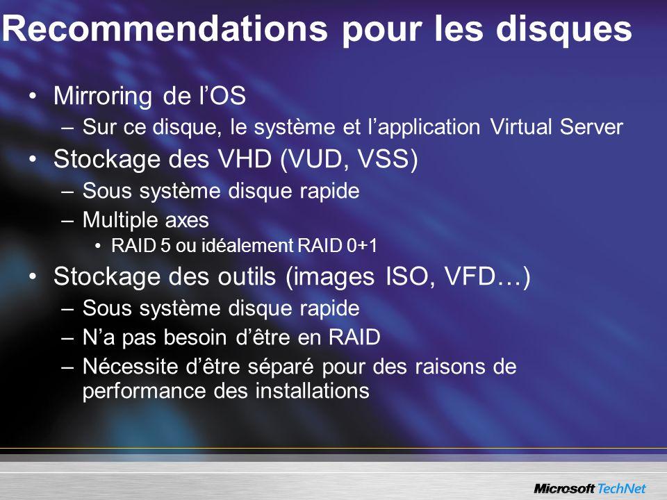 Recommendations pour les disques Mirroring de lOS –Sur ce disque, le système et lapplication Virtual Server Stockage des VHD (VUD, VSS) –Sous système disque rapide –Multiple axes RAID 5 ou idéalement RAID 0+1 Stockage des outils (images ISO, VFD…) –Sous système disque rapide –Na pas besoin dêtre en RAID –Nécessite dêtre séparé pour des raisons de performance des installations