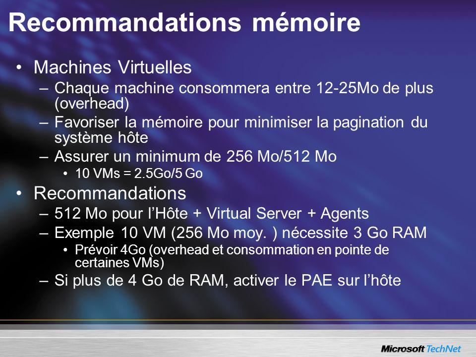 Recommandations mémoire Machines Virtuelles –Chaque machine consommera entre 12-25Mo de plus (overhead) –Favoriser la mémoire pour minimiser la pagination du système hôte –Assurer un minimum de 256 Mo/512 Mo 10 VMs = 2.5Go/5 Go Recommandations –512 Mo pour lHôte + Virtual Server + Agents –Exemple 10 VM (256 Mo moy.