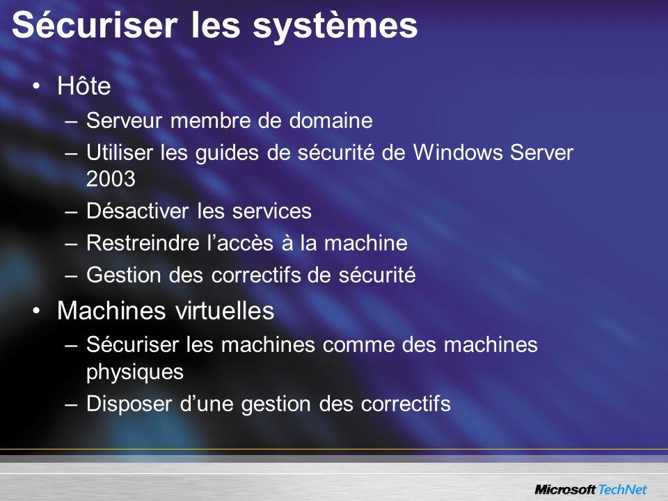 Sécuriser les systèmes Hôte –Serveur membre de domaine –Utiliser les guides de sécurité de Windows Server 2003 –Désactiver les services –Restreindre laccès à la machine –Gestion des correctifs de sécurité Machines virtuelles –Sécuriser les machines comme des machines physiques –Disposer dune gestion des correctifs