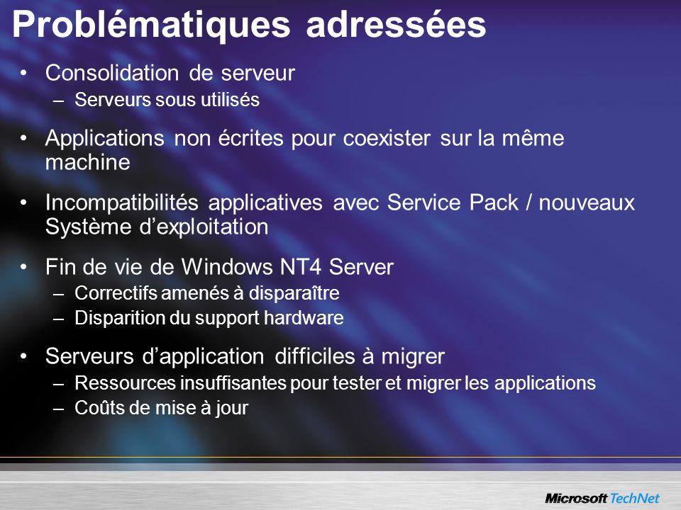 Virtual Server 2005 R2 DisponibilitéDisponibilité plus grande –Clustering de machines virtuelles entre hôtes –Support du cluster au niveau de lhôte Virtual Server R2 Montée en chargeMontée en charge plus importante –Support du hôte Windows 2003 X64 PerformancePerformance accrue –Jusquà 50% de diminution dans lutilisation de la CPU AdministrabilitéAdministrabilité améliorée –Boot PXE – Intégrer les scénarios de déploiement des machines virtuelles dans les déploiement dinfrastructure InteropérabilitéInteropérabilité meilleure –Support des invités Linux/Unix