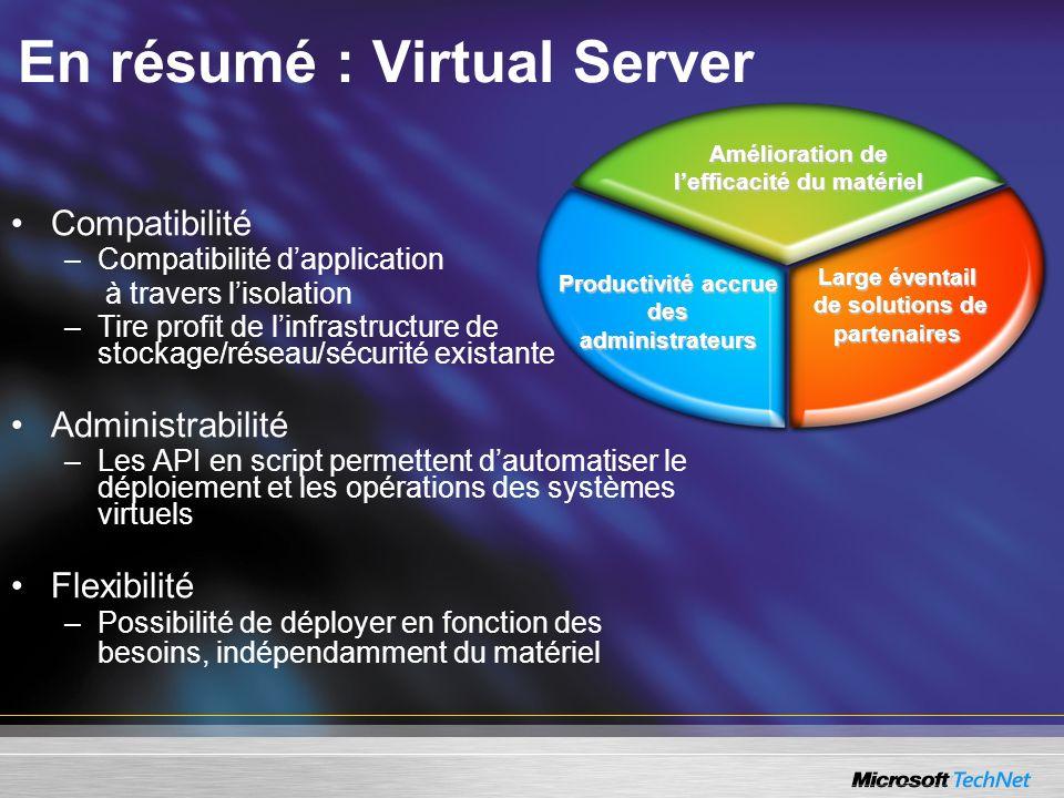 En résumé : Virtual Server Compatibilité –Compatibilité dapplication à travers lisolation –Tire profit de linfrastructure de stockage/réseau/sécurité