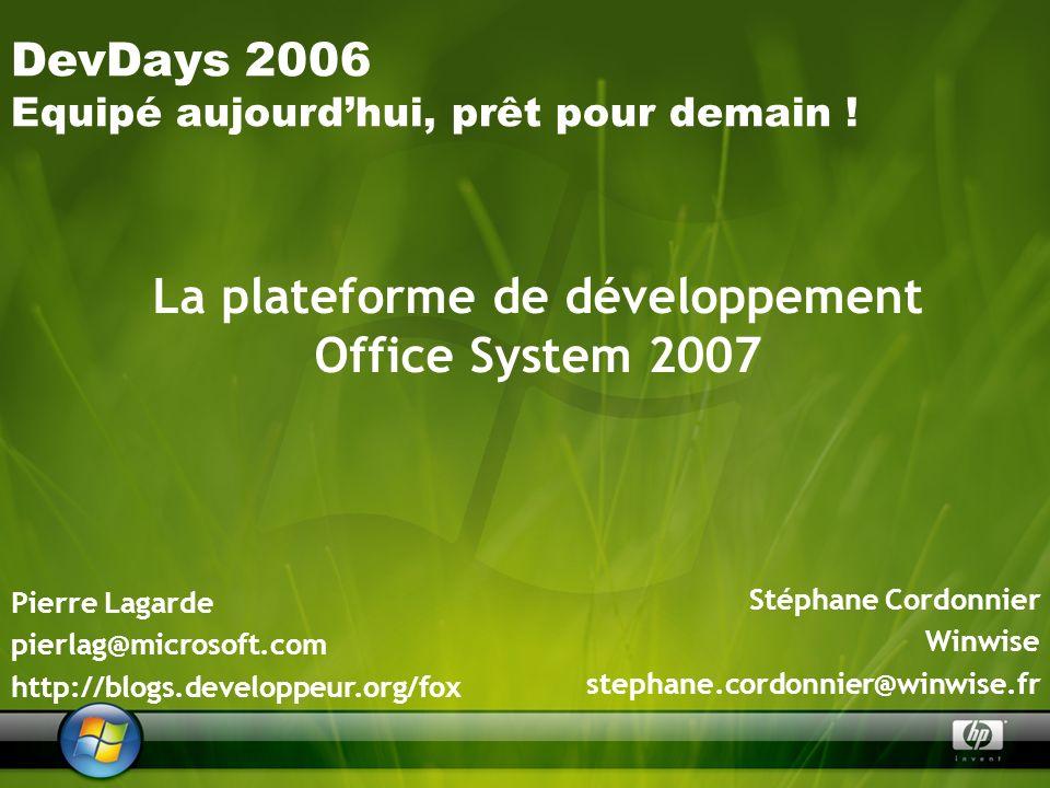 La plateforme de développement Office System 2007 Stéphane Cordonnier Winwise stephane.cordonnier@winwise.fr DevDays 2006 Equipé aujourdhui, prêt pour