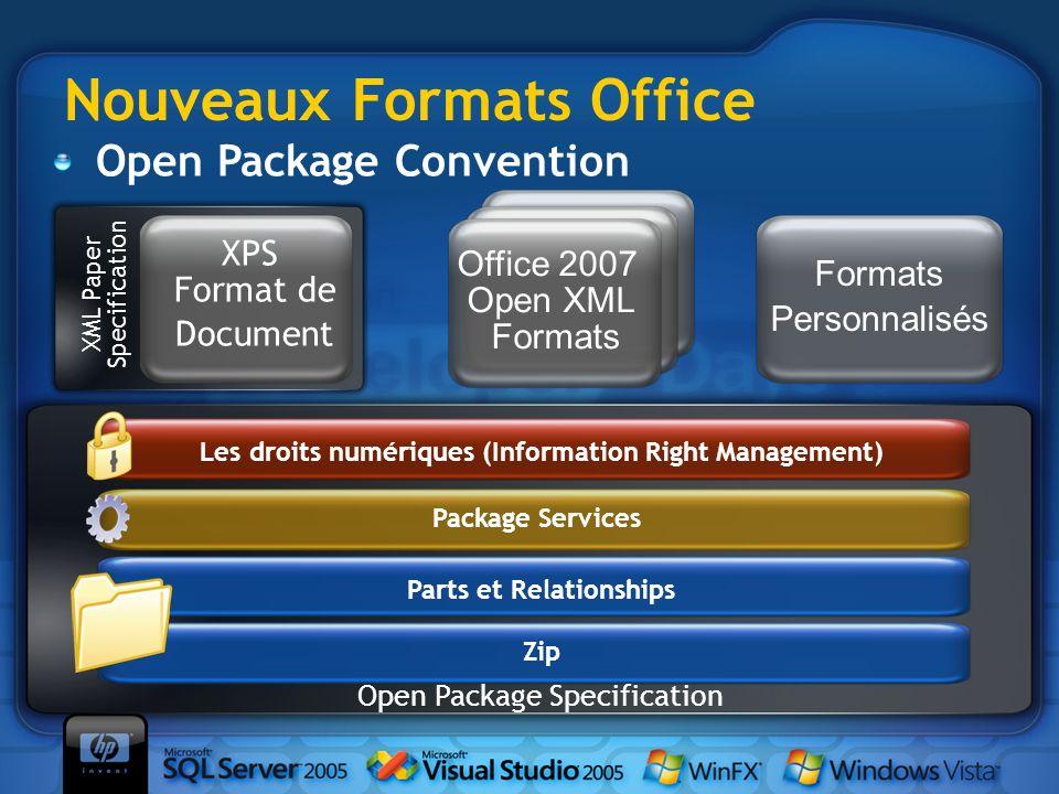 Zip Parts et Relationships Open Package Specification Package Services Les droits numériques (Information Right Management) Office 2007 Open XML Forma