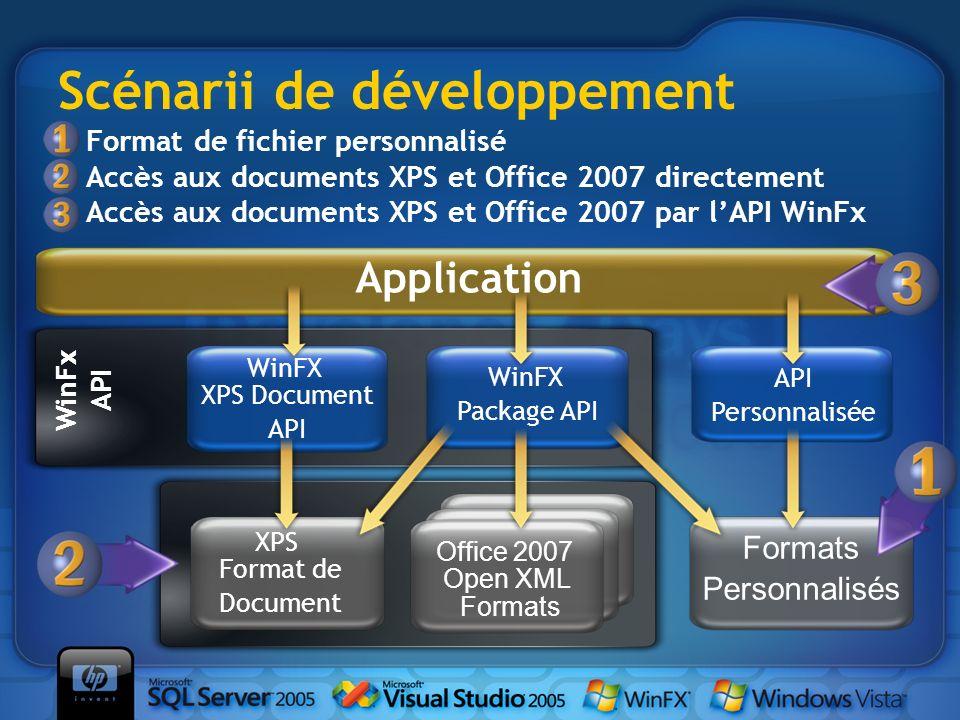 Scénarii de développement WinFx API Office 2007 Open XML Formats XPS Format de Document Formats Personnalisés WinFX XPS Document API WinFX Package API