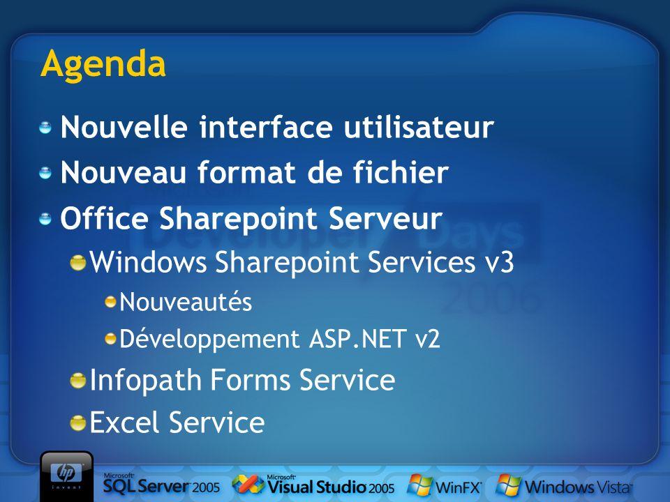 Agenda Nouvelle interface utilisateur Nouveau format de fichier Office Sharepoint Serveur Windows Sharepoint Services v3 Nouveautés Développement ASP.