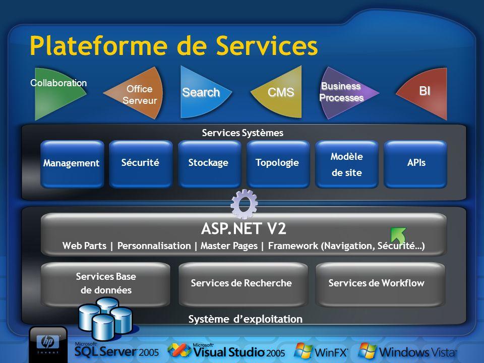 Plateforme de Services Collaboration BI Office Serveur Business Processes SearchCMS Services Systèmes Modèle de site StockageSécurité Management Topol