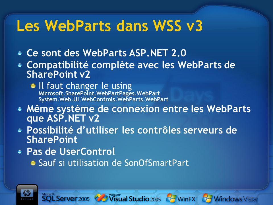 Les WebParts dans WSS v3 Ce sont des WebParts ASP.NET 2.0 Compatibilité complète avec les WebParts de SharePoint v2 Il faut changer le using Microsoft