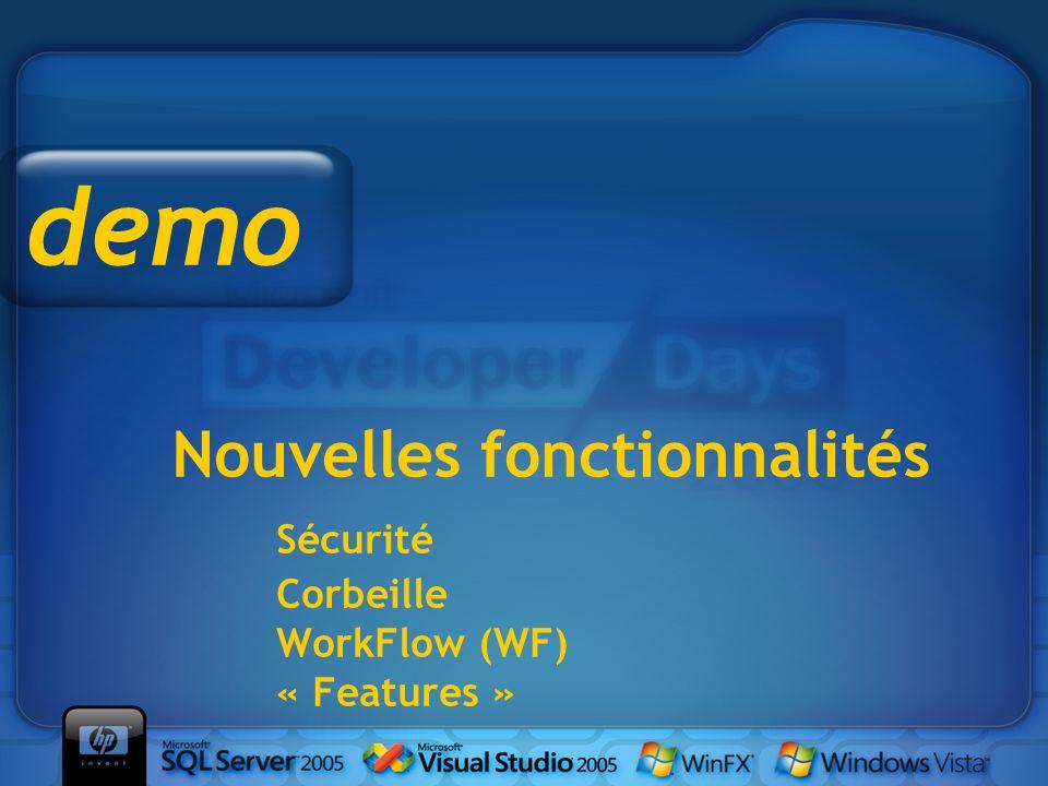 Nouvelles fonctionnalités Sécurité Corbeille WorkFlow (WF) « Features » demo
