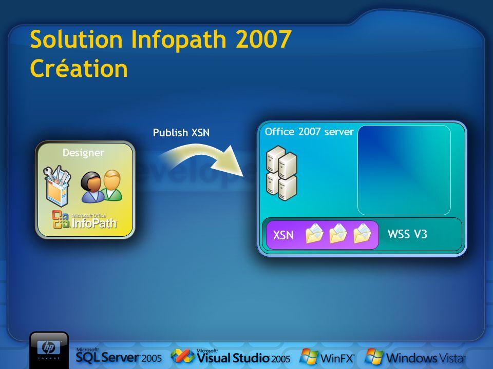 Publish XSN WSS V3 Office 2007 server Designer XSN Solution Infopath 2007 Création