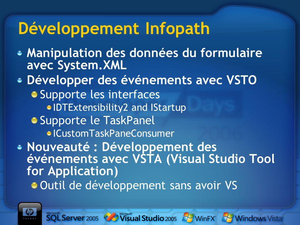 Développement Infopath Manipulation des données du formulaire avec System.XML Développer des événements avec VSTO Supporte les interfaces IDTExtensibi