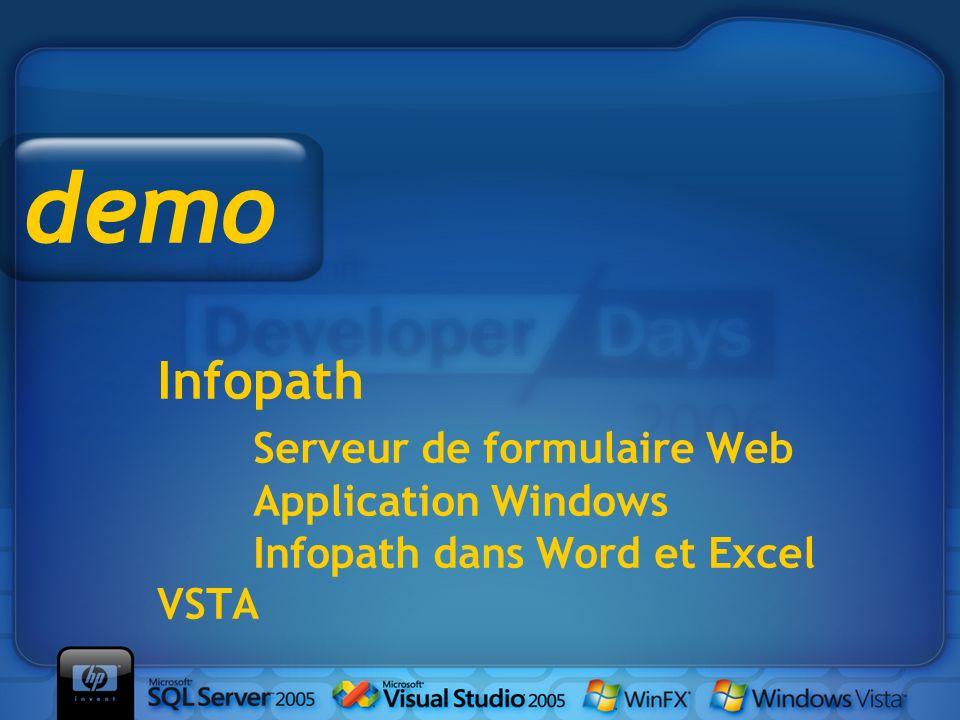 Infopath Serveur de formulaire Web Application Windows Infopath dans Word et Excel VSTA demo