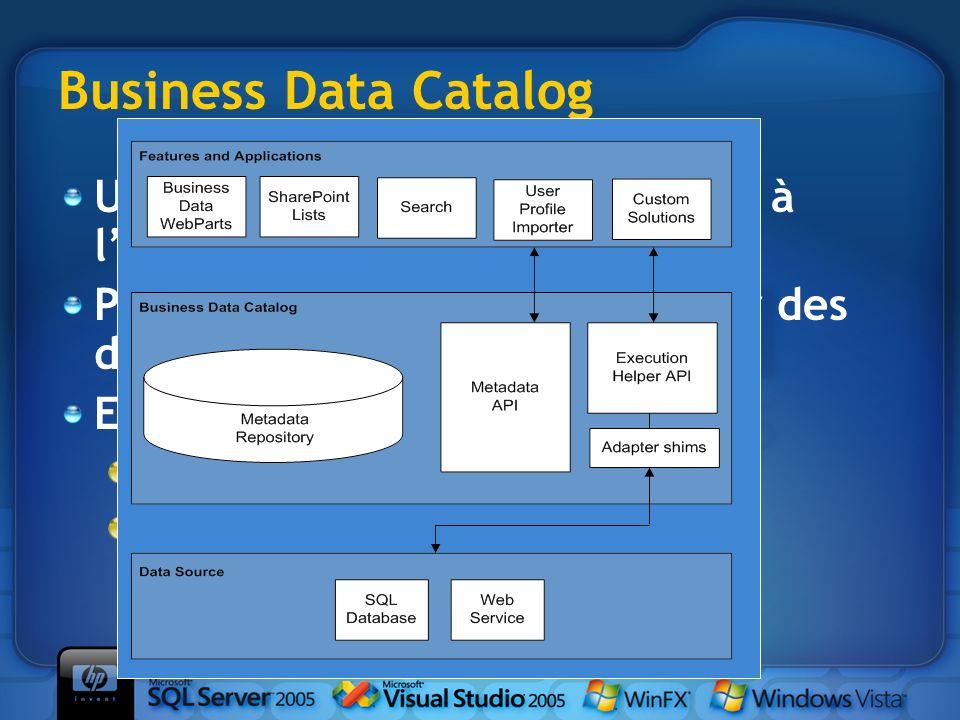 Business Data Catalog Un entrepôt de données prêtes à lemploi Permet de fédérer et dagréger des données externes Exposées sous forme de liste : Utilis