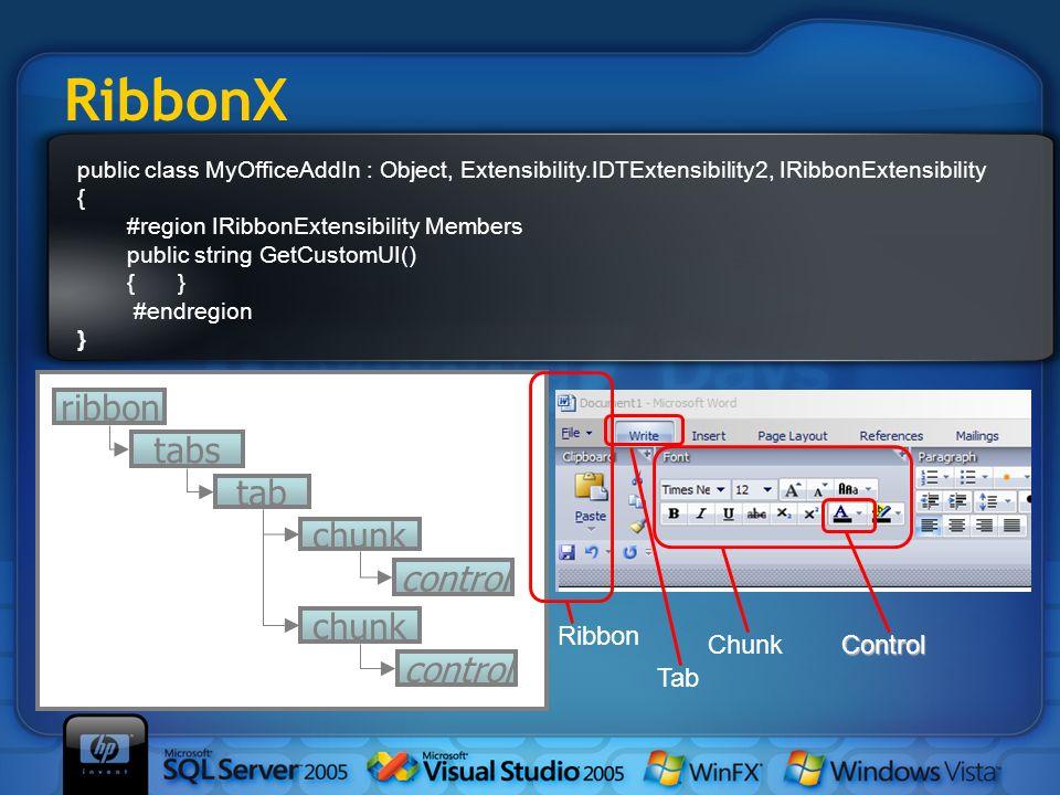RibbonX public class MyOfficeAddIn : Object, Extensibility.IDTExtensibility2, IRibbonExtensibility { #region IRibbonExtensibility Members public strin