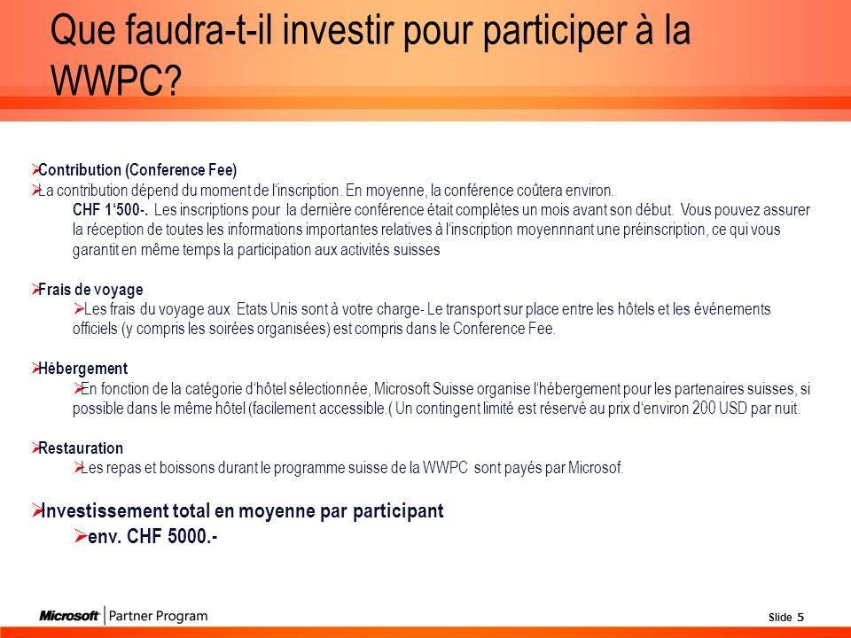 Slide 5 Que faudra-t-il investir pour participer à la WWPC.