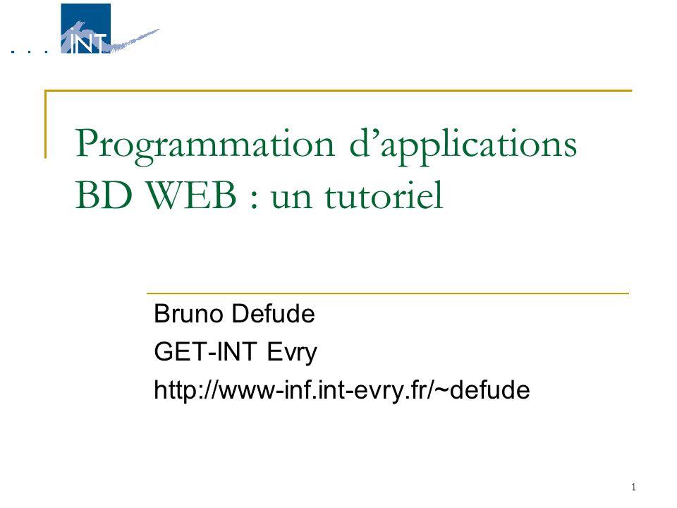 1 Programmation dapplications BD WEB : un tutoriel Bruno Defude GET-INT Evry http://www-inf.int-evry.fr/~defude