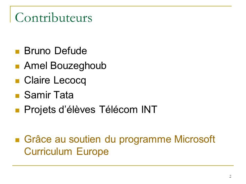 2 Contributeurs Bruno Defude Amel Bouzeghoub Claire Lecocq Samir Tata Projets délèves Télécom INT Grâce au soutien du programme Microsoft Curriculum Europe