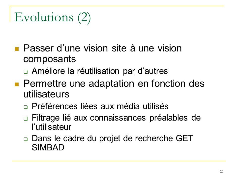 21 Evolutions (2) Passer dune vision site à une vision composants Améliore la réutilisation par dautres Permettre une adaptation en fonction des utilisateurs Préférences liées aux média utilisés Filtrage lié aux connaissances préalables de lutilisateur Dans le cadre du projet de recherche GET SIMBAD