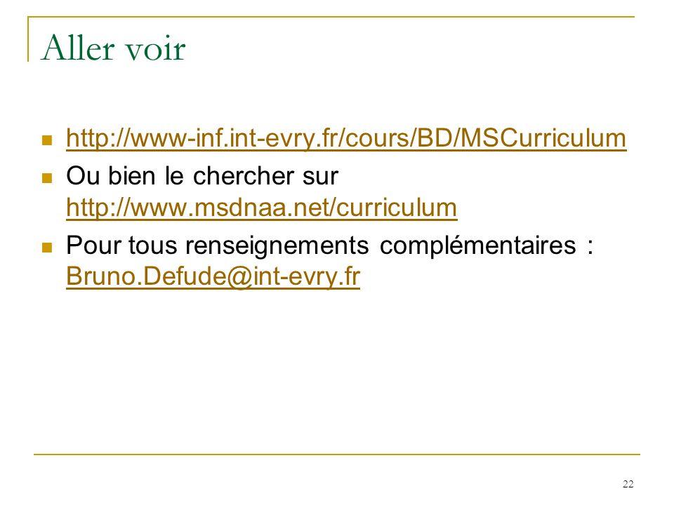22 Aller voir http://www-inf.int-evry.fr/cours/BD/MSCurriculum Ou bien le chercher sur http://www.msdnaa.net/curriculum http://www.msdnaa.net/curriculum Pour tous renseignements complémentaires : Bruno.Defude@int-evry.fr Bruno.Defude@int-evry.fr