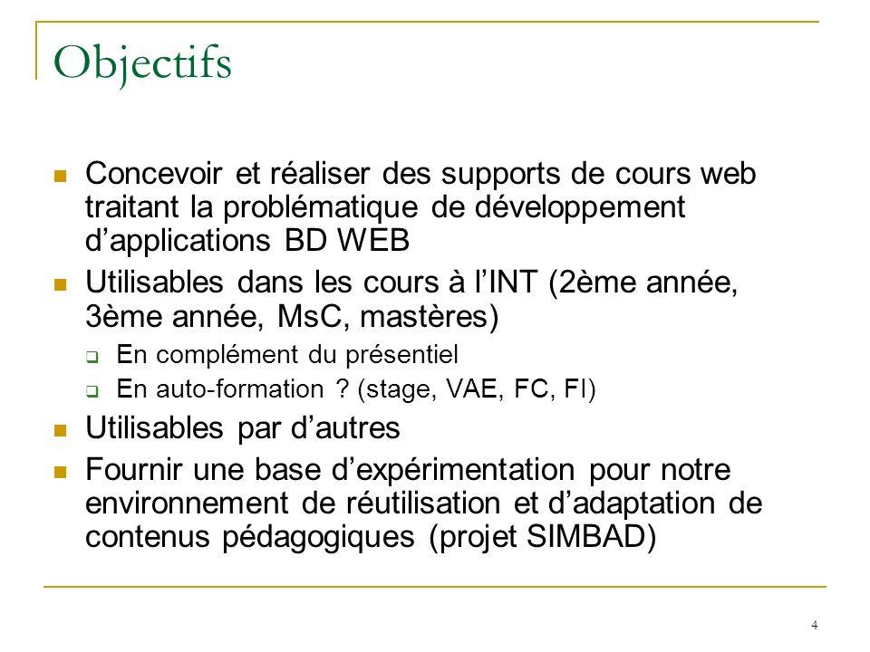 4 Objectifs Concevoir et réaliser des supports de cours web traitant la problématique de développement dapplications BD WEB Utilisables dans les cours à lINT (2ème année, 3ème année, MsC, mastères) En complément du présentiel En auto-formation .