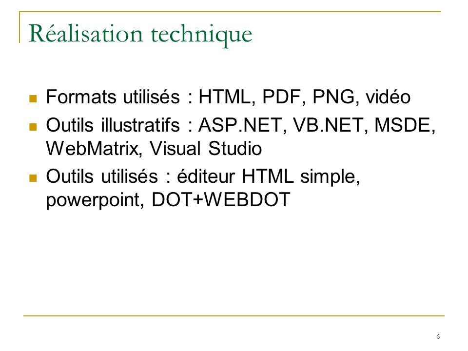 6 Réalisation technique Formats utilisés : HTML, PDF, PNG, vidéo Outils illustratifs : ASP.NET, VB.NET, MSDE, WebMatrix, Visual Studio Outils utilisés : éditeur HTML simple, powerpoint, DOT+WEBDOT