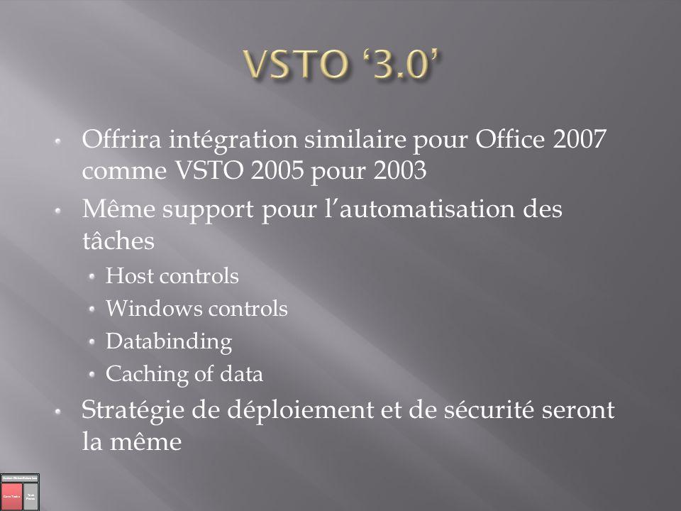 Offrira intégration similaire pour Office 2007 comme VSTO 2005 pour 2003 Même support pour lautomatisation des tâches Host controls Windows controls D