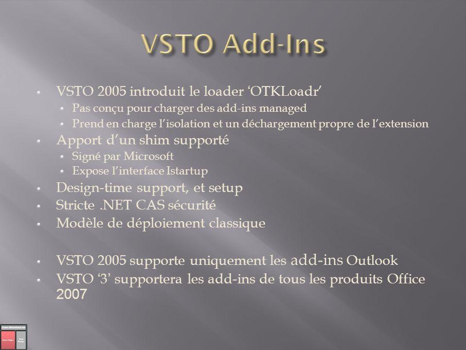 VSTO 2005 introduit le loader OTKLoadr Pas conçu pour charger des add-ins managed Prend en charge lisolation et un déchargement propre de lextension A