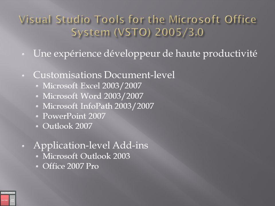 Une expérience développeur de haute productivité Customisations Document-level Microsoft Excel 2003/2007 Microsoft Word 2003/2007 Microsoft InfoPath 2