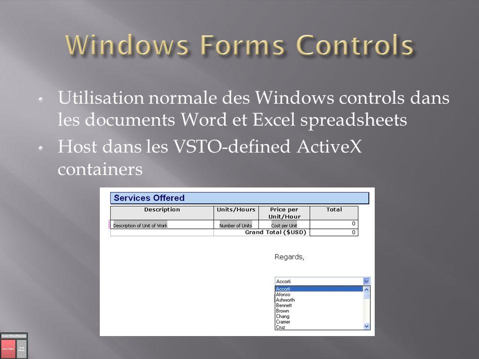 Repose sur ADO.NET Programmation autours des données au lieu des MOs Word et Excel Lier de multiple controls au même DataSet Deux types de binding Simple (un champ à une propriété du contrôl) Complex (de multiple champs de valeurs à un contrôl) Sources de données sont: Web Service Database DataSet Custom Object