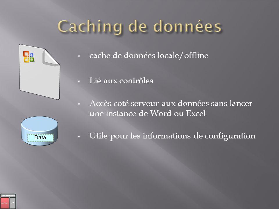 cache de données locale/offline Lié aux contrôles Accès coté serveur aux données sans lancer une instance de Word ou Excel Utile pour les informations