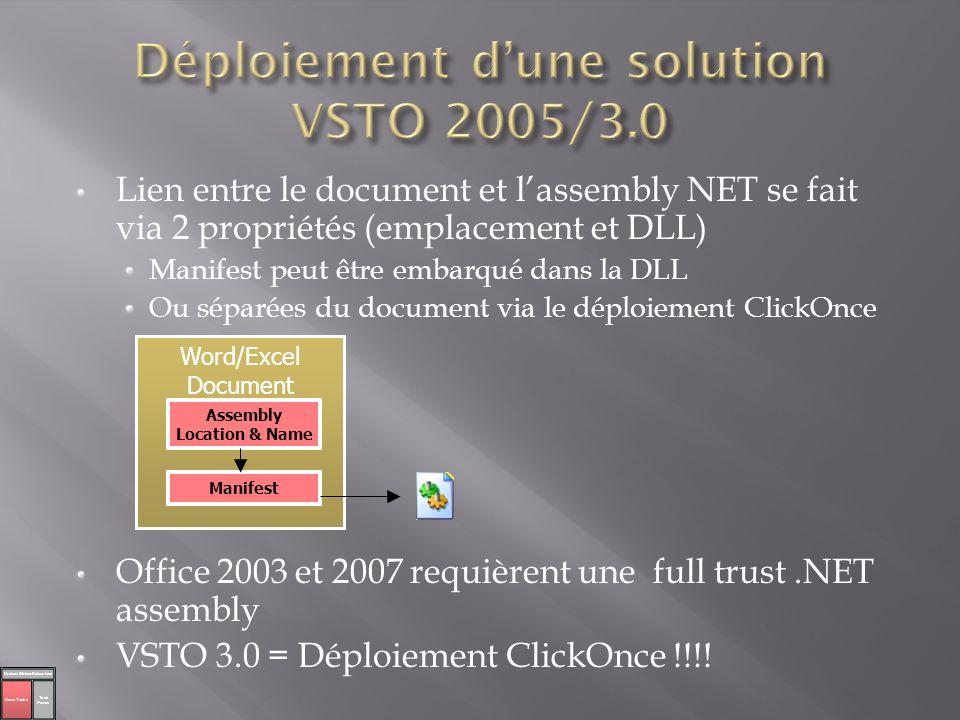 Lien entre le document et lassembly NET se fait via 2 propriétés (emplacement et DLL) Manifest peut être embarqué dans la DLL Ou séparées du document