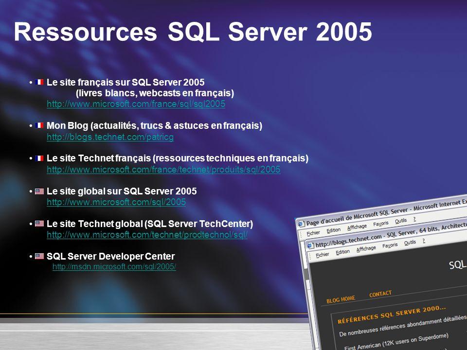 Ressources SQL Server 2005 Le site français sur SQL Server 2005 (livres blancs, webcasts en français) http://www.microsoft.com/france/sql/sql2005 Mon