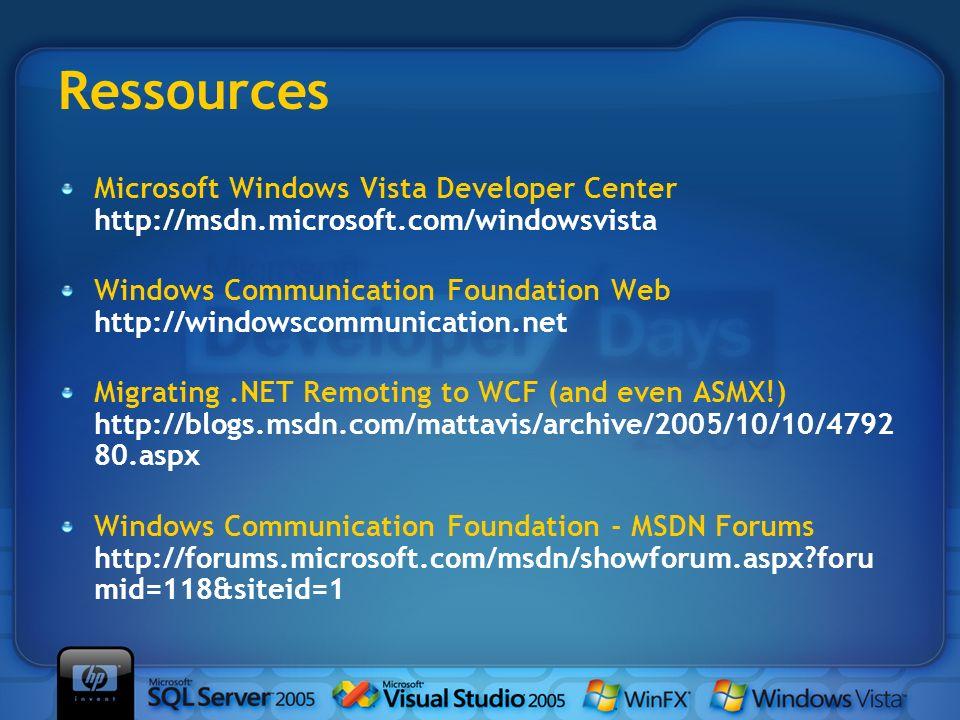 Ressources Microsoft Windows Vista Developer Center http://msdn.microsoft.com/windowsvista Windows Communication Foundation Web http://windowscommunic