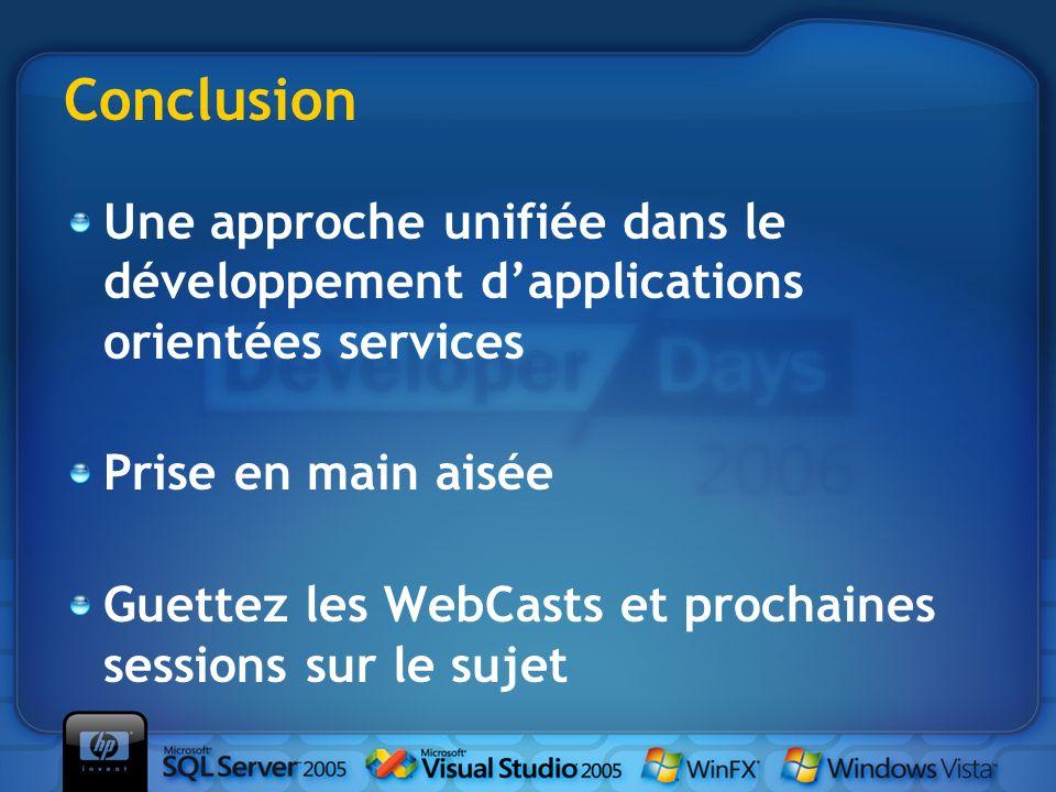 Conclusion Une approche unifiée dans le développement dapplications orientées services Prise en main aisée Guettez les WebCasts et prochaines sessions