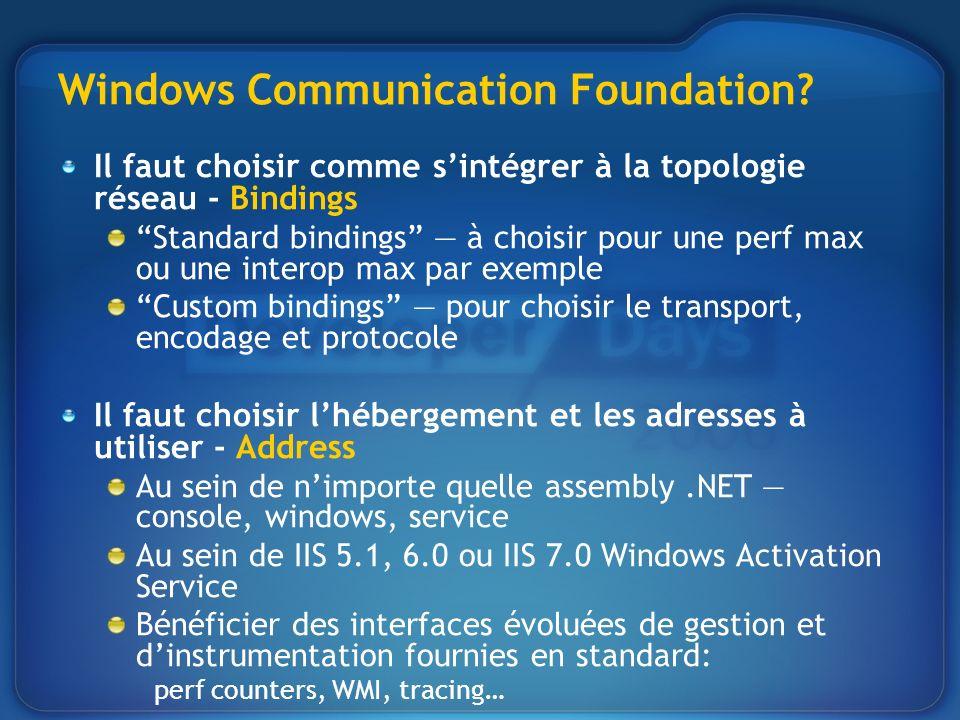 Windows Communication Foundation? Il faut choisir comme sintégrer à la topologie réseau - Bindings Standard bindings à choisir pour une perf max ou un