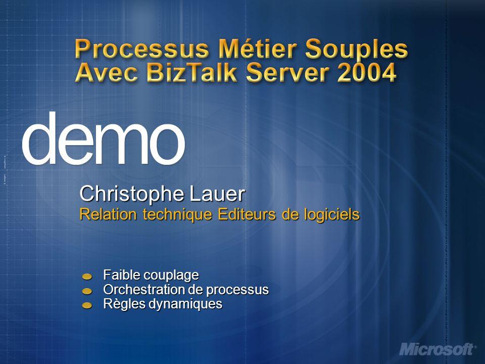 Processus Métier Souples Avec BizTalk Server 2004 Faible couplage Orchestration de processus Règles dynamiques Christophe Lauer Relation technique Editeurs de logiciels
