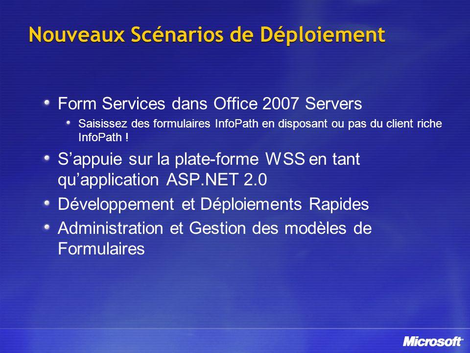 Nouveaux Scénarios de Déploiement Form Services dans Office 2007 Servers Saisissez des formulaires InfoPath en disposant ou pas du client riche InfoPa