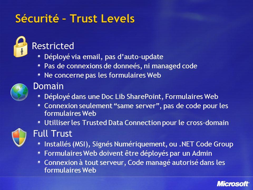 Sécurité – Trust Levels Restricted Déployé via email, pas dauto-update Pas de connexions de donneés, ni managed code Ne concerne pas les formulaires Web Domain Déployé dans une Doc Lib SharePoint, Formulaires Web Connexion seulement same server, pas de code pour les formulaires Web Utilliser les Trusted Data Connection pour le cross-domain Full Trust Installés (MSI), Signés Numériquement, ou.NET Code Group Formulaires Web doivent être déployés par un Admin Connexion à tout serveur, Code managé autorisé dans les formulaires Web