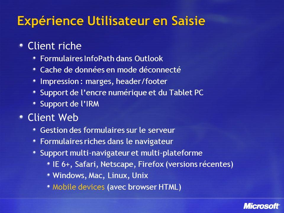 Expérience Utilisateur en Saisie Client riche Formulaires InfoPath dans Outlook Cache de données en mode déconnecté Impression : marges, header/footer