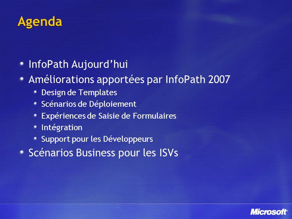 Agenda InfoPath Aujourdhui Améliorations apportées par InfoPath 2007 Design de Templates Scénarios de Déploiement Expériences de Saisie de Formulaires Intégration Support pour les Développeurs Scénarios Business pour les ISVs