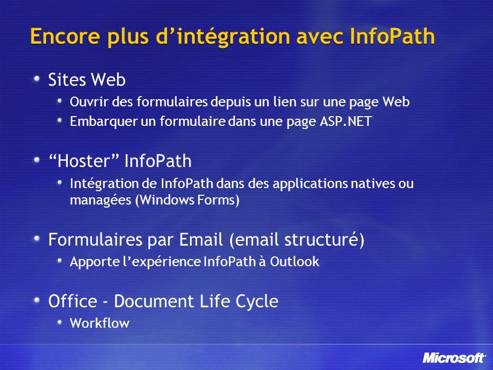 Encore plus dintégration avec InfoPath Sites Web Ouvrir des formulaires depuis un lien sur une page Web Embarquer un formulaire dans une page ASP.NET