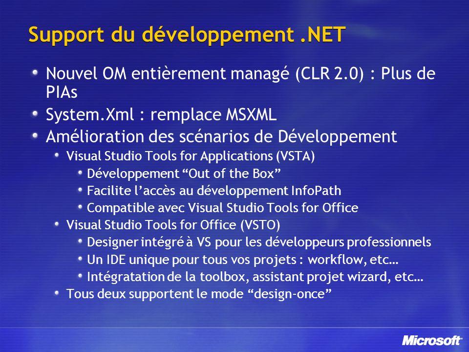 Support du développement.NET Nouvel OM entièrement managé (CLR 2.0) : Plus de PIAs System.Xml : remplace MSXML Amélioration des scénarios de Développement Visual Studio Tools for Applications (VSTA) Développement Out of the Box Facilite laccès au développement InfoPath Compatible avec Visual Studio Tools for Office Visual Studio Tools for Office (VSTO) Designer intégré à VS pour les développeurs professionnels Un IDE unique pour tous vos projets : workflow, etc… Intégratation de la toolbox, assistant projet wizard, etc… Tous deux supportent le mode design-once
