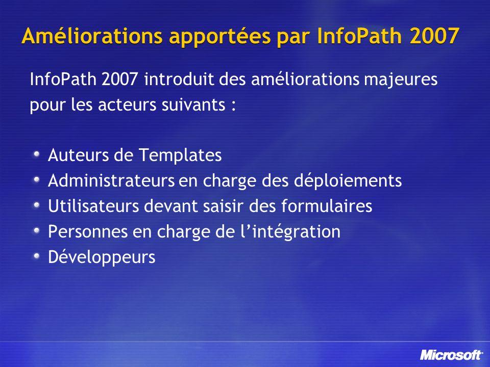 Améliorations apportées par InfoPath 2007 InfoPath 2007 introduit des améliorations majeures pour les acteurs suivants : Auteurs de Templates Administ