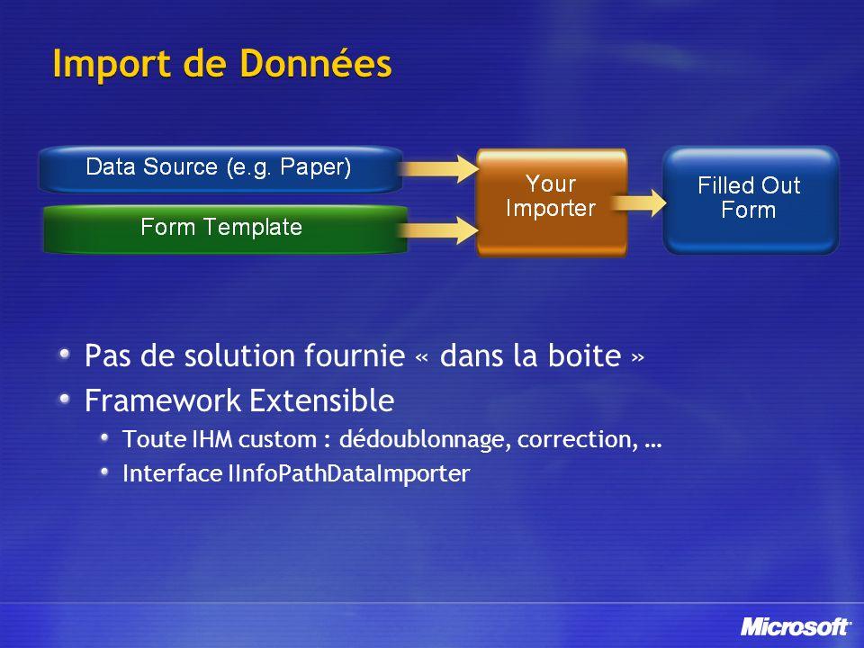 Import de Données Pas de solution fournie « dans la boite » Framework Extensible Toute IHM custom : dédoublonnage, correction, … Interface IInfoPathDataImporter