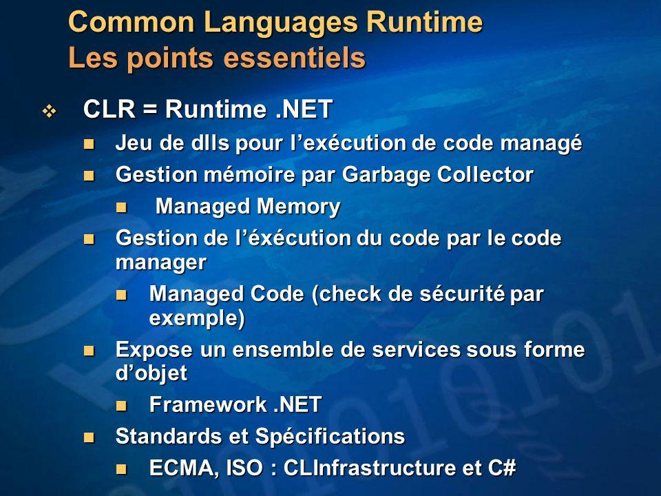 Common Languages Runtime Les points essentiels CLR = Runtime.NET CLR = Runtime.NET Jeu de dlls pour lexécution de code managé Jeu de dlls pour lexécution de code managé Gestion mémoire par Garbage Collector Gestion mémoire par Garbage Collector Managed Memory Managed Memory Gestion de léxécution du code par le code manager Gestion de léxécution du code par le code manager Managed Code (check de sécurité par exemple) Managed Code (check de sécurité par exemple) Expose un ensemble de services sous forme dobjet Expose un ensemble de services sous forme dobjet Framework.NET Framework.NET Standards et Spécifications Standards et Spécifications ECMA, ISO : CLInfrastructure et C# ECMA, ISO : CLInfrastructure et C#