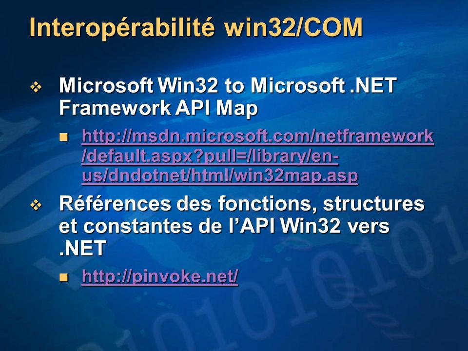 Interopérabilité win32/COM Microsoft Win32 to Microsoft.NET Framework API Map Microsoft Win32 to Microsoft.NET Framework API Map http://msdn.microsoft